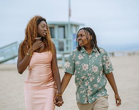 Couple on beach walk