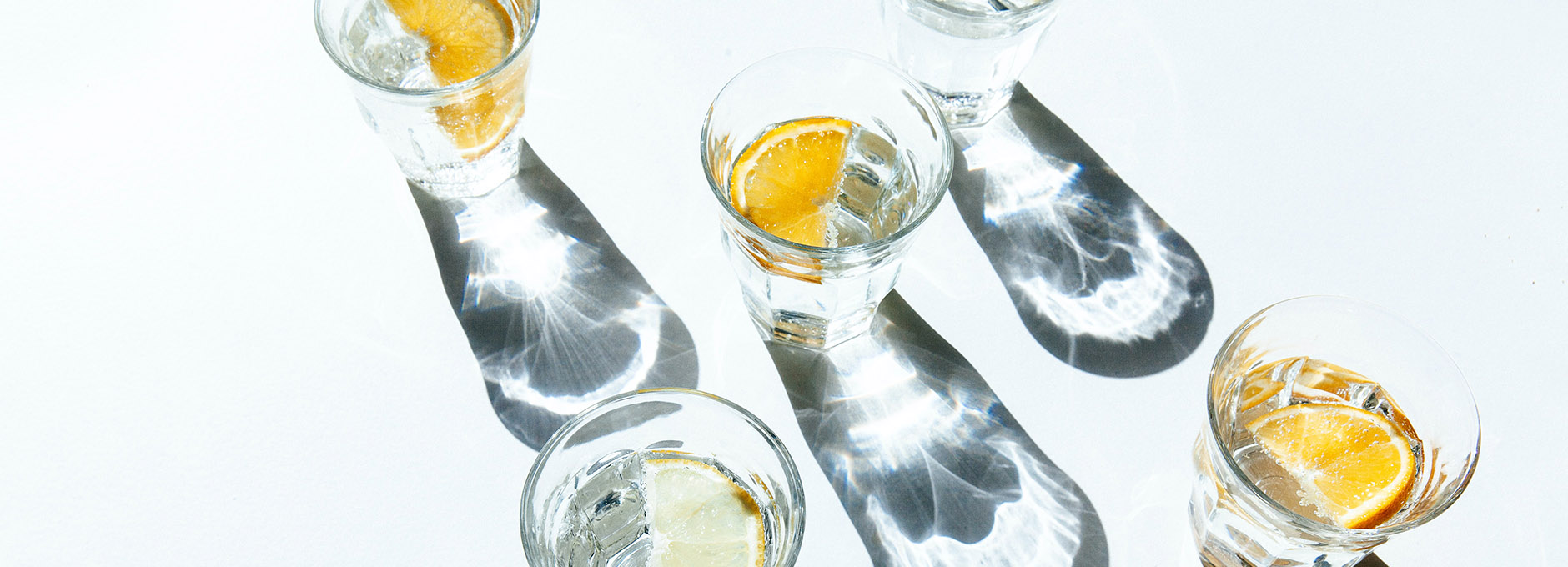 Water in glasses with lemon slices