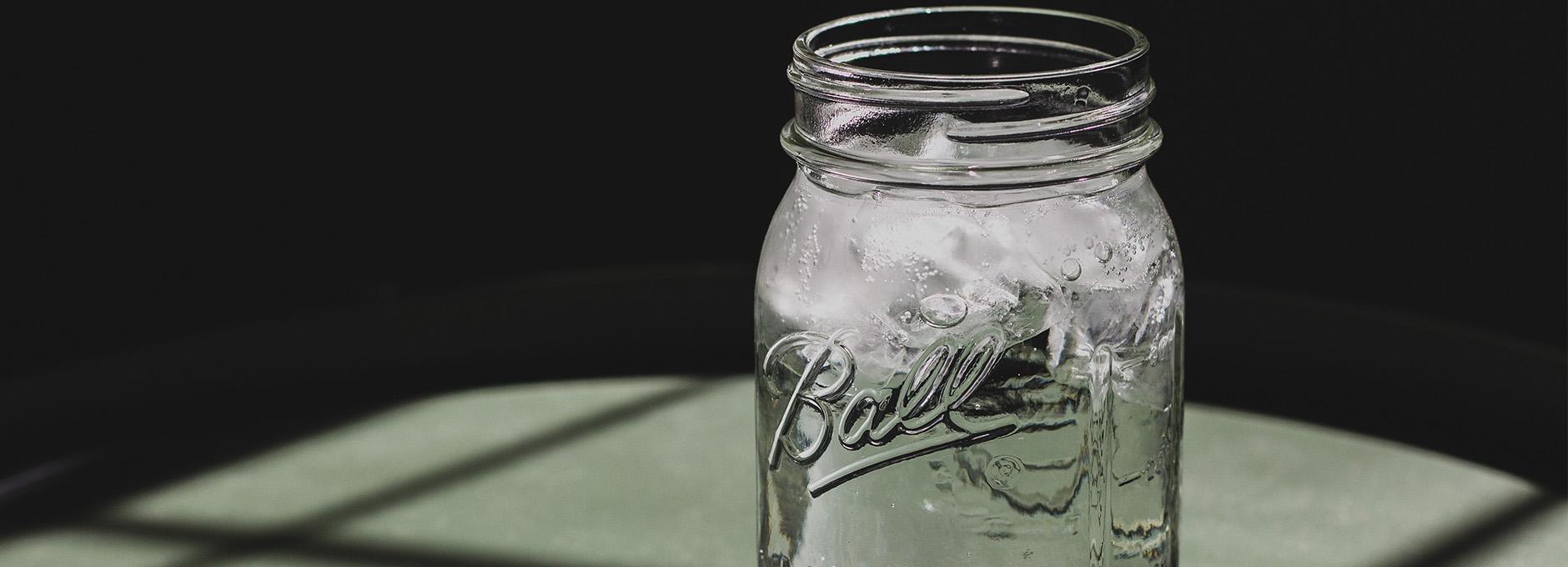 Water in mason jar