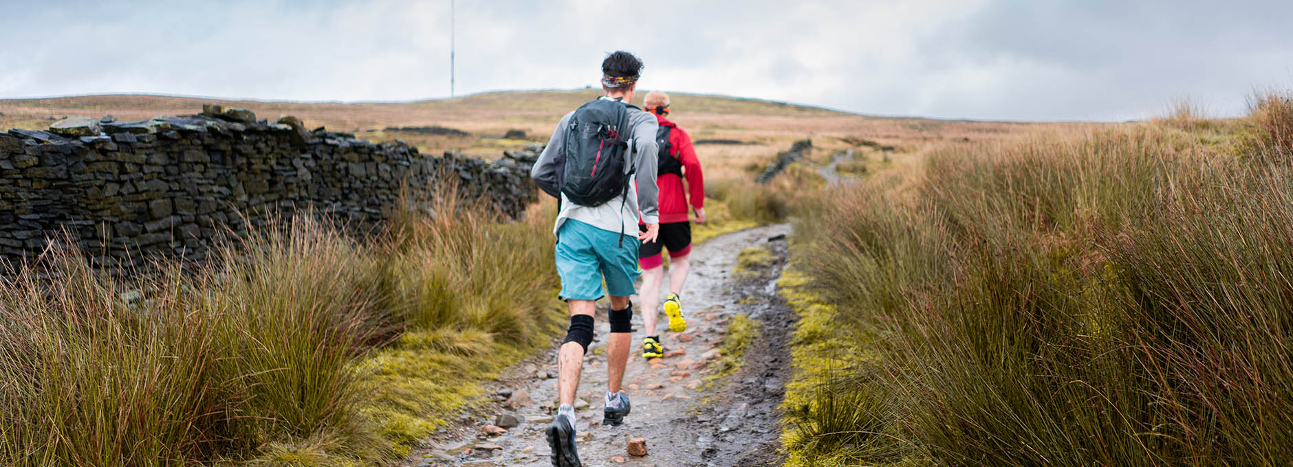 Man running up in hills