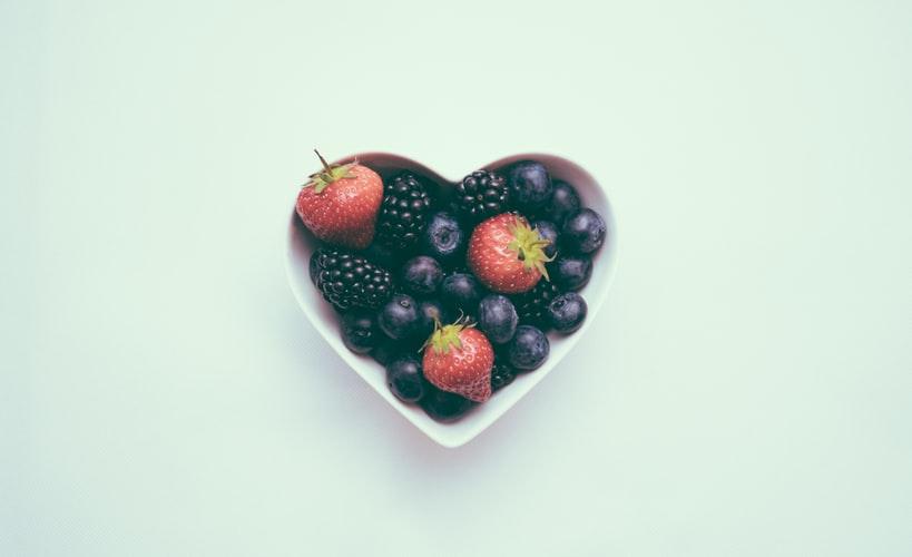 Bowl of fruit in heart shape