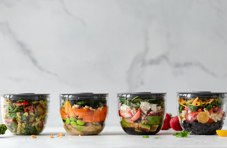 Containers with nutritious meals pre-prepared